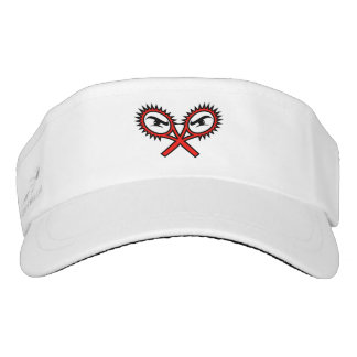 White sun visor cap for tennis player or coach