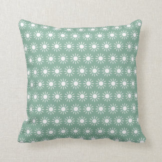 White Sunbursts on Vintage Baby Blue Throw Pillow