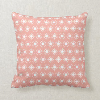 White Sunbursts on Vintage Baby Pink Throw Pillow