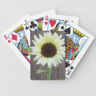 White sunflower against a weathered fence bicycle playing cards