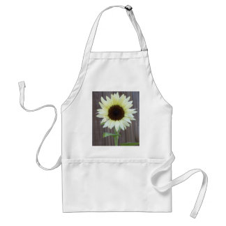White sunflower against a weathered fence standard apron