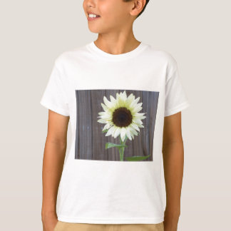 White sunflower against a weathered fence T-Shirt