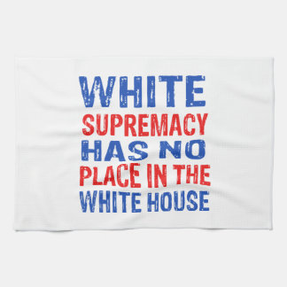 white supremacy design kitchen towel