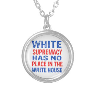 white supremacy design silver plated necklace