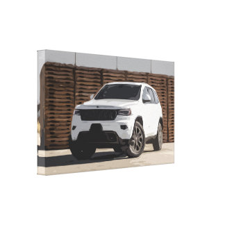 White SUV Car in Urban Environment Canvas Print