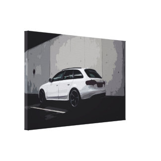 White SUV in Urban Environment Clean Design Canvas
