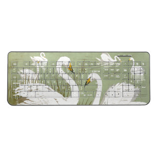 White Swan Birds Animals Wireless Keyboard