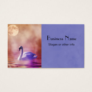 White Swan floating on a misty lake Business Card