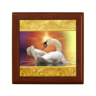 White Swan in a lake with a orange gold sunset Gift Box