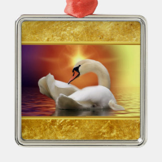 White Swan in a lake with a orange gold sunset Metal Ornament