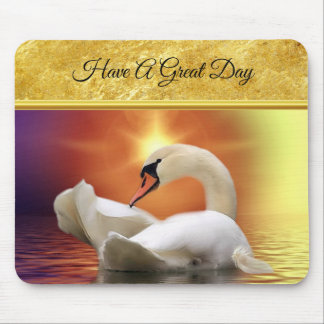 White Swan in a lake with a orange gold sunset Mouse Pad