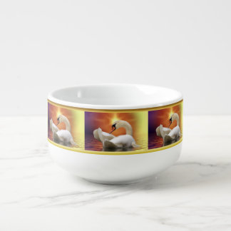White Swan in a lake with a orange gold sunset Soup Mug