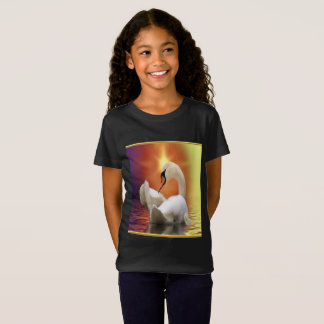 White Swan in a lake with a orange gold sunset T-Shirt