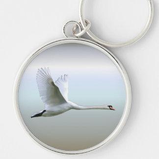 White Swan in Full Flight Keychain