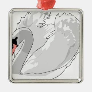 white swan metal ornament