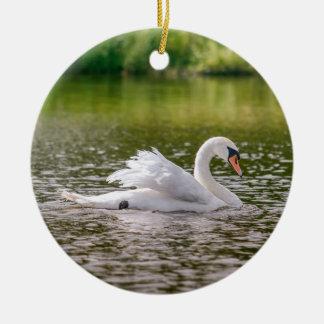 White swan on a lake ceramic ornament