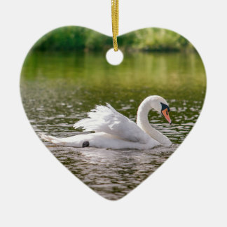 White swan on a lake ceramic ornament