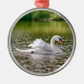 White swan on a lake metal ornament