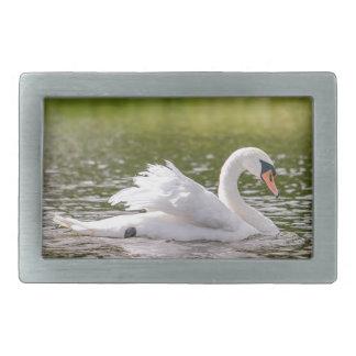 White swan on a lake rectangular belt buckle
