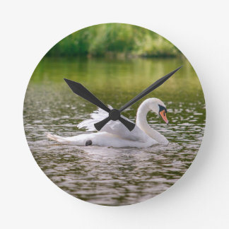 White swan on a lake round clock