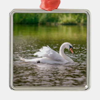 White swan on a lake Silver-Colored square ornament