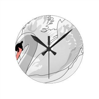 white swan round clock