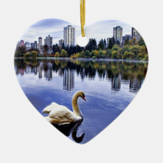 White Swan Swimming In The City Ceramic Heart Ornament