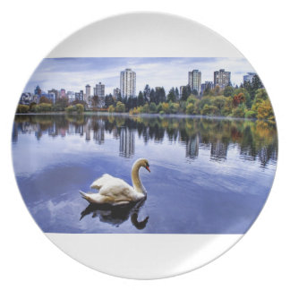 White Swan Swimming In The City Dinner Plate