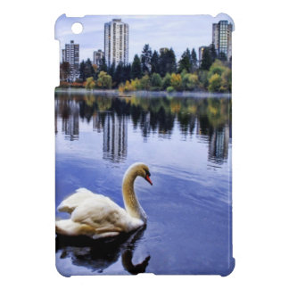 White Swan Swimming In The City iPad Mini Covers