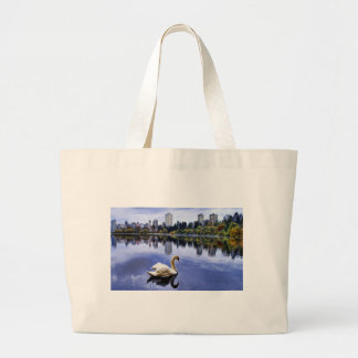 White Swan Swimming In The City Large Tote Bag