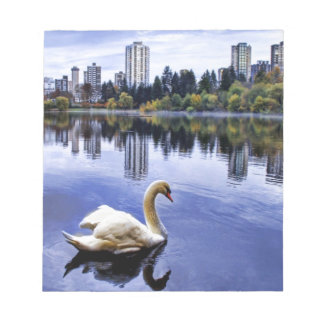 White Swan Swimming In The City Notepads