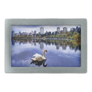 White Swan Swimming In The City Rectangular Belt Buckles