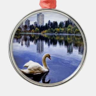 White Swan Swimming In The City Silver-Colored Round Ornament