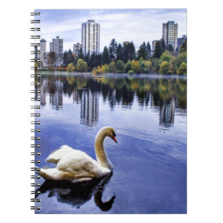 White Swan Swimming In The City Spiral Note Book