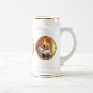 White Swan with gold and orange backdrop Beer Stein