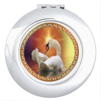 White Swan with gold and orange backdrop Makeup Mirror