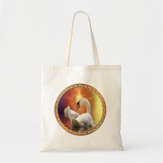 White Swan with gold and orange backdrop Tote Bag