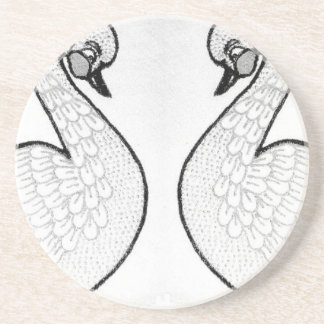 White swans drink coaster