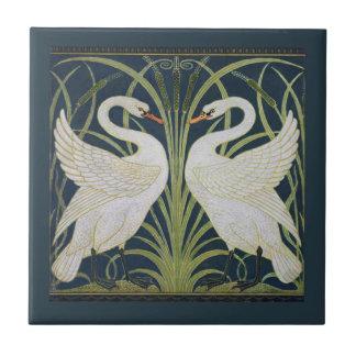 White Swans Nouveau Blue Tile