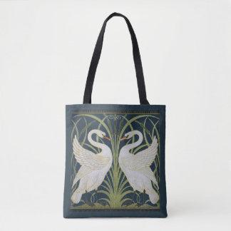 White Swans Nouveau Blue Tote Bag