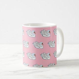 White Swans on Pink - Coffee Mug