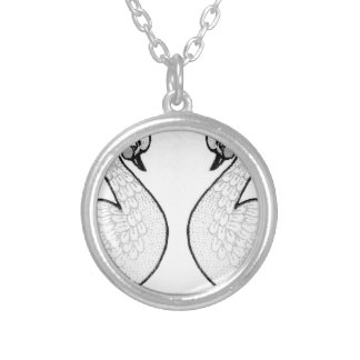White swans silver plated necklace