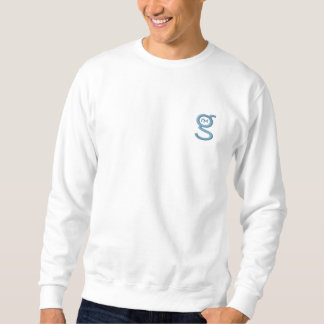 White Sweatshirt w Light Blue Embroidered Logo
