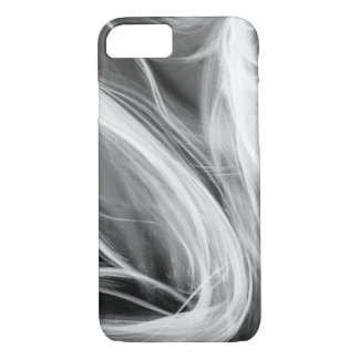 white swirling smoke design on black iPhone 8/7 case