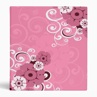 White Swirls And Flowers Pink wedding binder