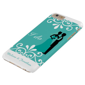 White Swirls Bride Groom Teal Elegant Wedding I do Barely There iPhone 6 Plus Case