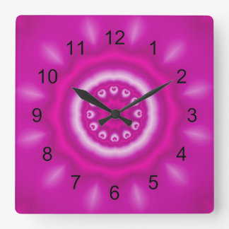 White Swirls, Circle and Lines w/Pink Square Wall Clock