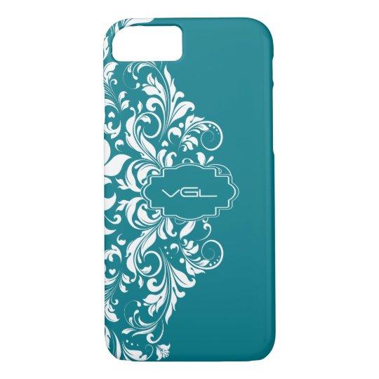 White Swirls Lace On Turquoise Background iPhone 8/7 Case