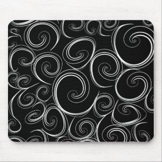 White Swirls Mouse Pad