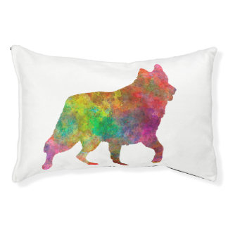 White Swiss Shepherd Dog in watercolor Small Dog Bed